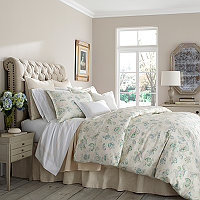 This combination of dreamy, creamy ivory and shades of white are paired with the gorgeous Clarissa print on a soft white cotton/linen ground with a romantic floral print in blues, greens, and ivory.
