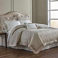 Diolinda sheeting features a band of pique linen trim and hemstitch detail on TL at home's Italian sheeting. Duvet Cover, Standard, King and European Shams are all over linen.