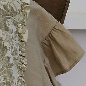 Traditions Linens Bedding Tuscany Linen Malt Ruffled Pillowcase