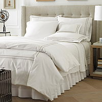 Fiona sheeting features four embroidered lines on Traditions Linens Italian sheeting.