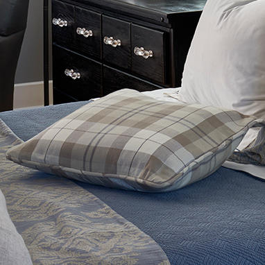 Traditions Linens Bedding Leland Plaid Corded Pillow