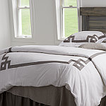 Traditions Linens Bedding Milano White Duvet Cover