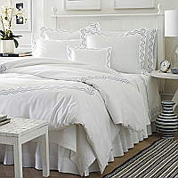 Olivia sheeting features two wavy embroidered lines on Traditions Linens's Italian sheeting.