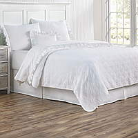 Plisse sheeting features a lovely white 400 thread count Italian cotton fabric available in sateen or percale.