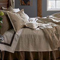 Elegance seems effortless when you pair a traditional floral on a linen ground with crisp percale sheeting and stone washed accents and the subtle drape of bamboo.