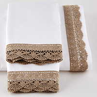 Sofia sheeting features an application of crocheted linen trim on Traditions Linens's Italian sheeting.