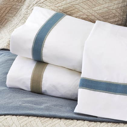 Traditions Linens Bedding Standard Sheet Set with Linen Trim