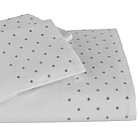 Swiss Dot sheeting features tiny embroidered dots on Traditions Linens Italian sheeting.