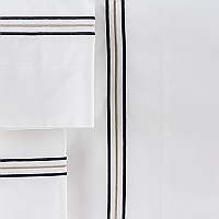 William sheeting features a triple embroidered line on Traditions Linens Italian sheeting.