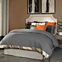 Features Morgan Duvet in Marble Arch Woven with Faux Leather Piping & Border.