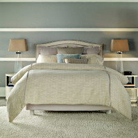 Features Gavin Woven Duvet with half inch Flat Piping of Silver Prairie.