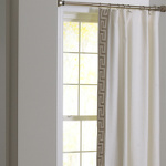 Wildcat Territory Ivory Linen Panel with Leading Edge in Pewter Milos Key Drapery Panels
