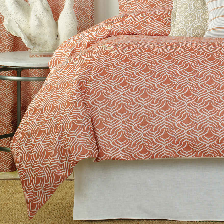 Wildcat Territory Bedding Coral Niki Woven Duvet Cover