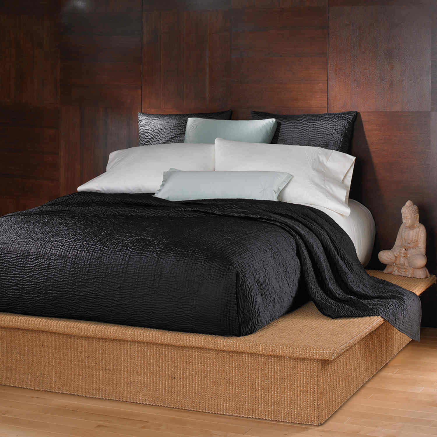 wildcat territory bedding shanti black collection - wildcat territory shanti black handstitched textured satin polyestercoverlet  euro sham set