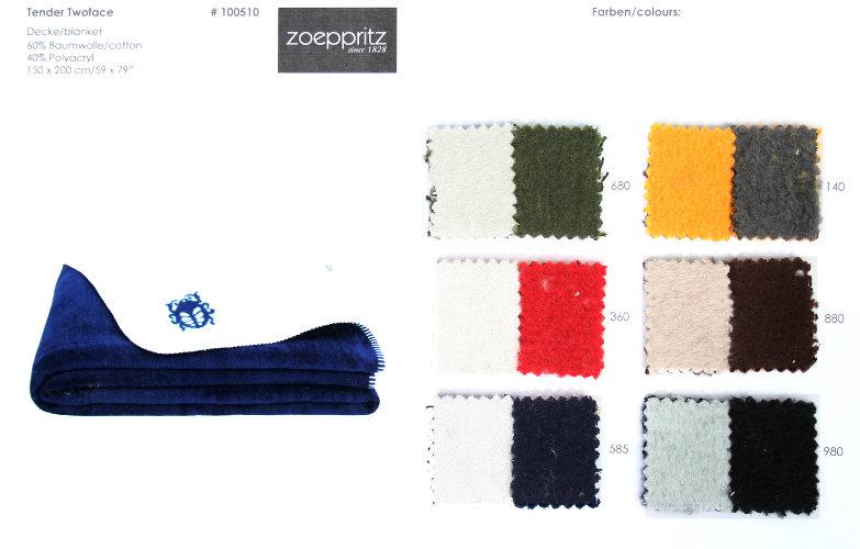 Zoeppritz Tender Twoface Cotton/Polyacryl Blanket.